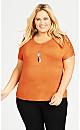 Plus Size Crochet Shoulder Top -orange