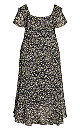 Plus Size Romance Print Dress - foil print