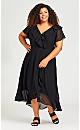 Plus Size Romance Print Dress - black