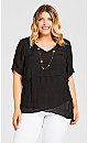 Plus Size Double Layer Tunic - black