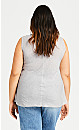 Plus Size Inverted Vee Top - charcoal