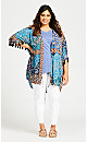 Plus Size Tassel Print Kimono - teal