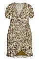 Plus Size Wrap Crinkle Print Dress - olive