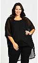 Plus Size Mesh Cardi - black