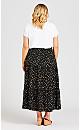 Plus Size Tiered Print Skirt - black