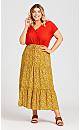 Tiered Print Skirt - mustard