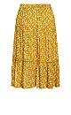 Plus Size Tiered Print Skirt - mustard