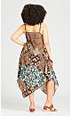 Plus Size Trapeze Print Dress - cinnamon