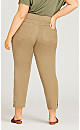 Plus Size Cotton Stretch Ankle Snap Pant Brown - tall