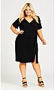 Plus Size Tie Plain Dress -black