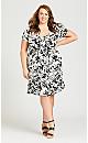 Plus Size Pleat Print Dress - white
