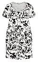 Pleat Print Dress - white
