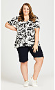 Plus Size Piped V Neck Print Top - white