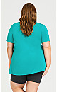 Plus Size Piped V Neck Plain Top - jade
