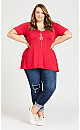 Plus Size Piped V Neck Plain Top - red