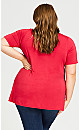 Piped V Neck Plain Top - red