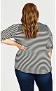 Plus Size Keyhole Stripe Top - white stripe