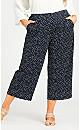 Plus Size Knit Print Pant - navy