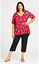 Plus Size Foil Crossover Tunic - red