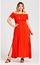 Shirred Split Maxi Dress - tigerlily