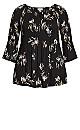 Plus Size Pleat Print Top - black floral