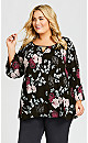 Plus Size Pleat Print Top - black blossom