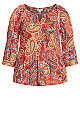 Plus Size Pleat Print Top - red paisley