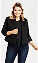 Plus Size Crop Tuxedo Jacket - black