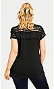 Plus Size Lace Yoke Tee - black