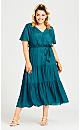 Belted Mock Wrap Dress - teal