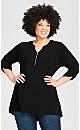 Plus Size Zip Knit Tunic - black