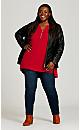 Plus Size Zip Knit Tunic - cherry