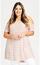 Plus Size Stripe Cold Shoulder Tunic - blush
