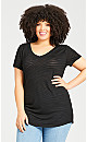 Plus Size Textured Burnout Top - black