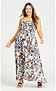 Plus Size Shirred Ruffle Print Dress - white