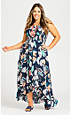 Plus Size Shirred Ruffle Print Dress - navy