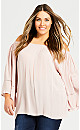 Plus Size Flutter Crinkle Plain Top - blush