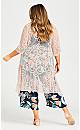 Plus Size Embroidered Kimono Jacket - blush