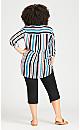 Plus Size Hi Low Stripe Shirt - navy