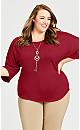 Plus Size Texture Knit Top - berry