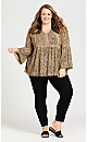 Plus Size Boho Bell Sleeve Top - toffee