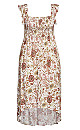 Shirred Cap Dress - ivory