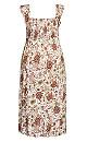 Plus Size Shirred Cap Dress - ivory