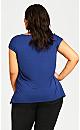 Plus Size Split Hem Plain Top - royal blue