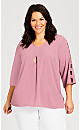 Plus Size Cut Out Sleeve Detail Top - rose