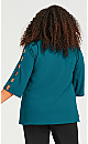 Cut Out Sleeve Detail Top - teal