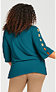 Plus Size Cut Out Sleeve Detail Top - teal