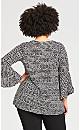 Plus Size Bell Sleeve Print Tunic - black spot