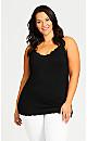 Plus Size Lace Trim Cami - black