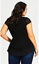 Plus Size Heat Stud Plain Top - black